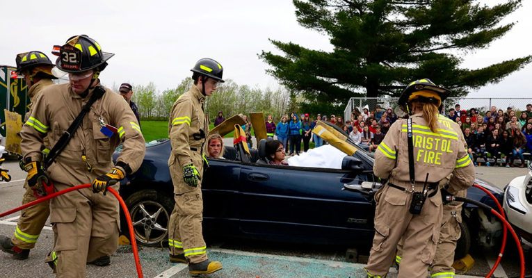 Mock crash with firefighters